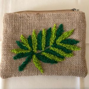 A&B embroidered Jute palm coin purse